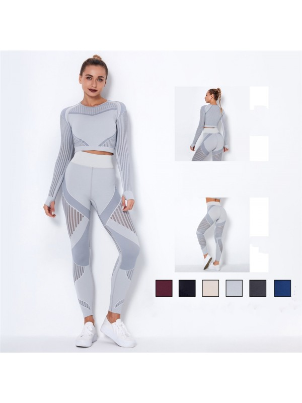 Women's Seamless Knitted Absorbent Yoga Long-sleeved Pants Sports Suit