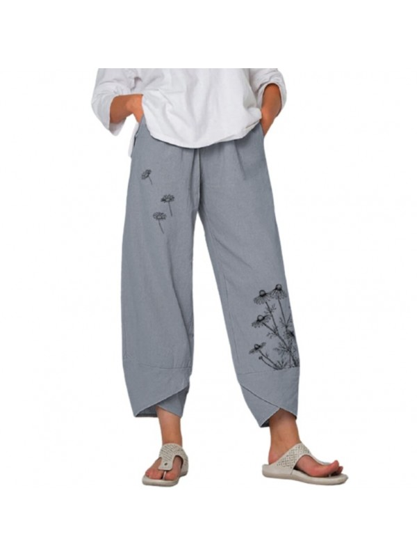Women casual loose trousers with Floating Daisys