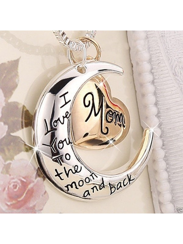 Rose Gold Heart & Moon Mom Necklaces