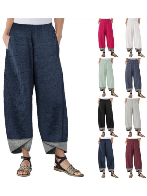 Patchwork Loose Baggy Elastic Waist Trousers
