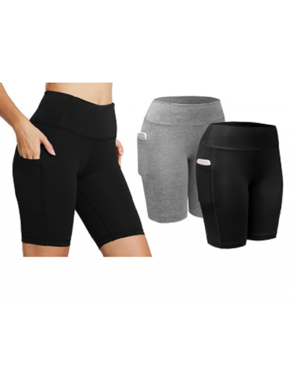 Women Workout Shorts Stretch Mid Thigh Leggings with Pocket