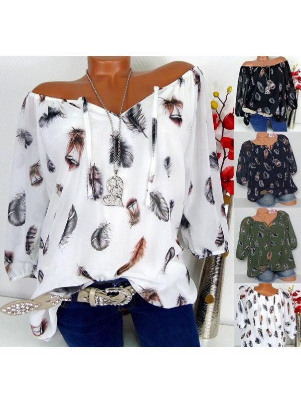 Womens Loose V Neck Blouse Tops Sexy Ladies Off Shoulder T Shirt