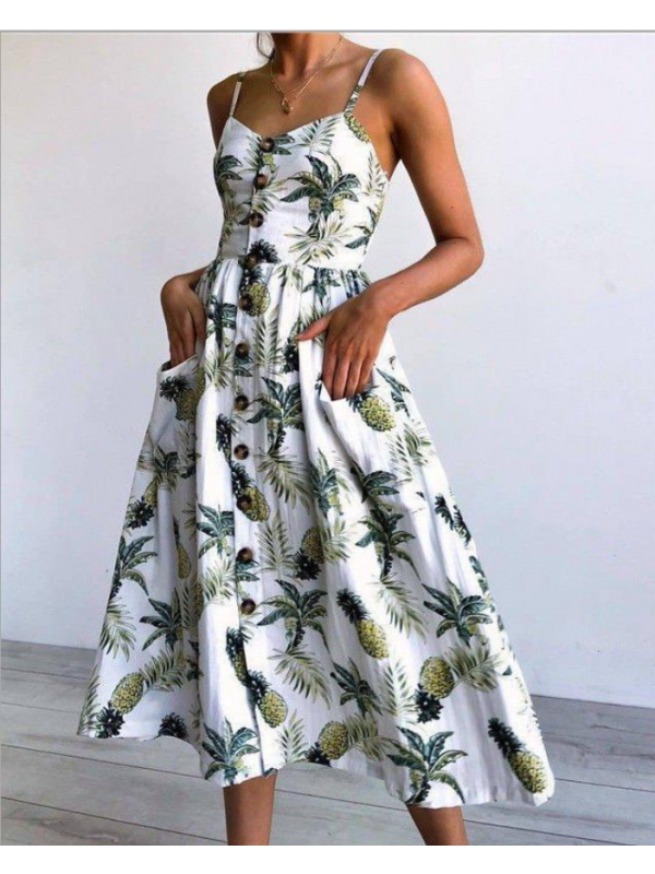 Summer Pineapple Floral Backless Spaghetti Strap Button Down Dress with Pockets