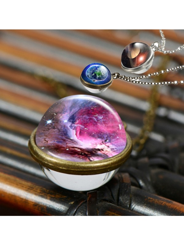 Luminous Space Planet Necklace Double Sided Glass