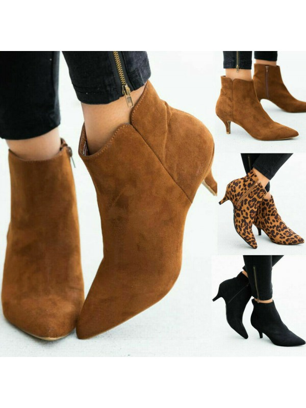 Womens Low Heel Ankle Pointy Boots