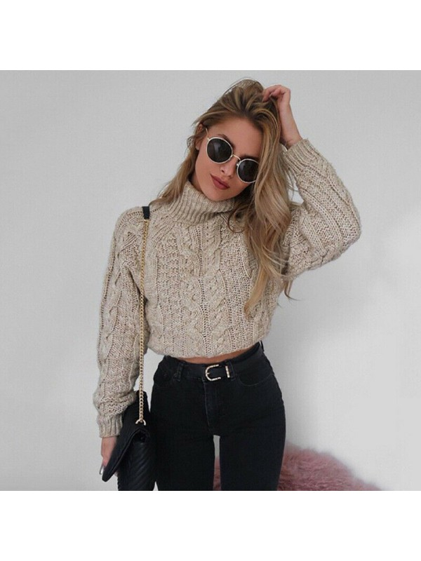 Womens Cable Knitted High Neck Pullover Sweater