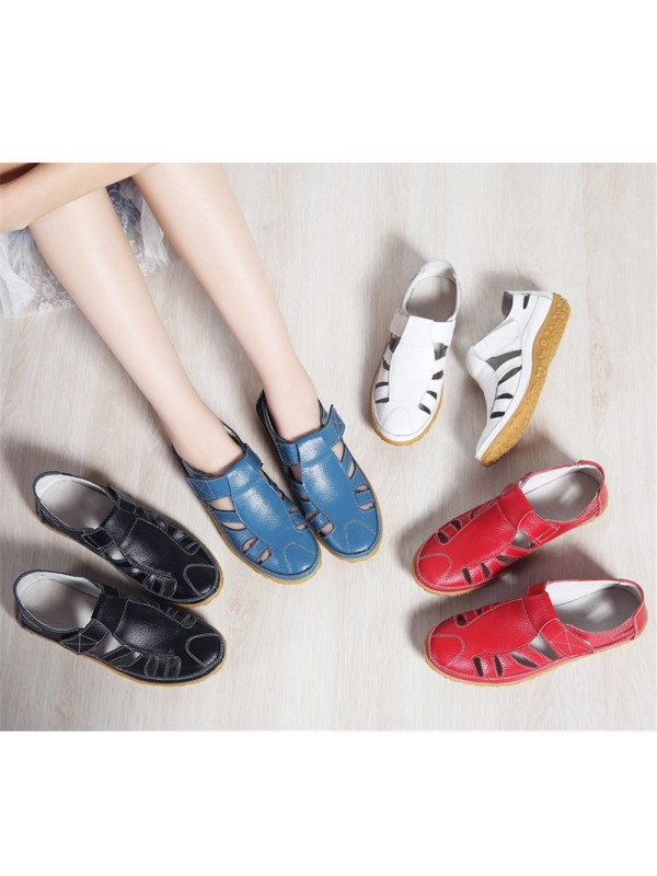 Women Summer Shoes Velcro Leather Breathable Beach Flats
