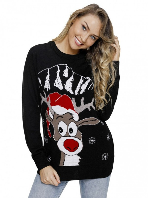 Round Neck Long Sleeve Snowman Pattern Knit Casual Pullover Sweater