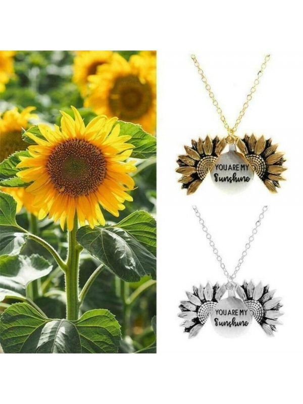 Sunflower Double Lettering Necklace