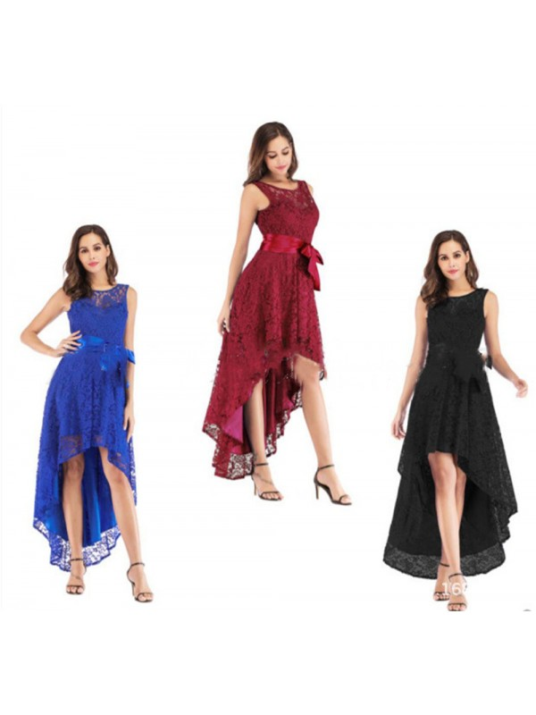 Women Evening Party Lace Sleeveless Long Dress Cocktail Ball Prom Gown
