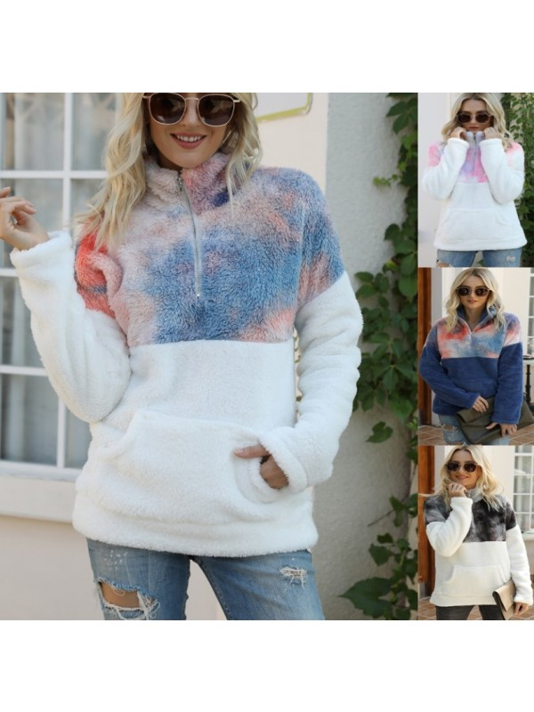 Women's Tie Dyed Stand Collar Plush Sweater