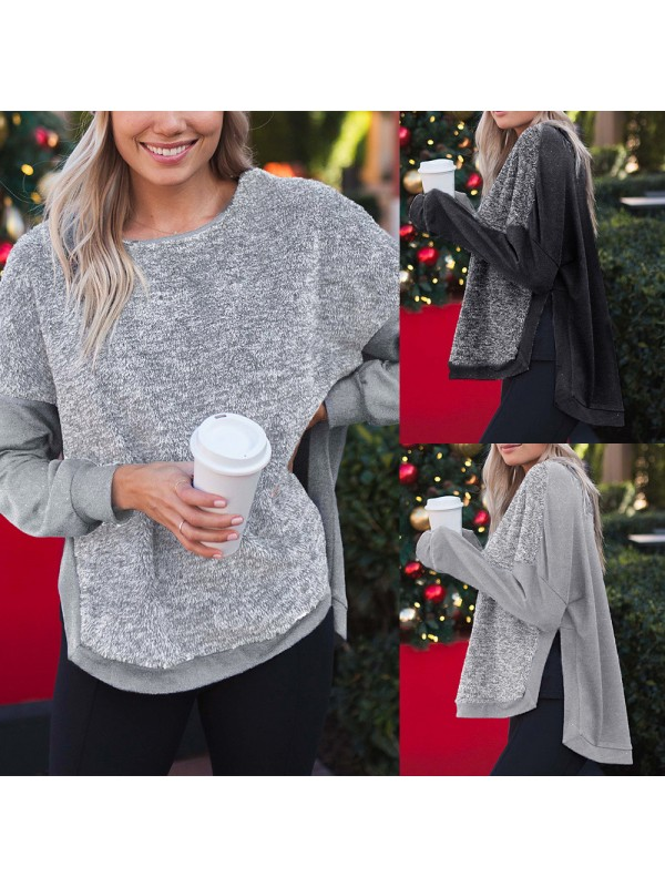 Women Casual Side Slit Pullover