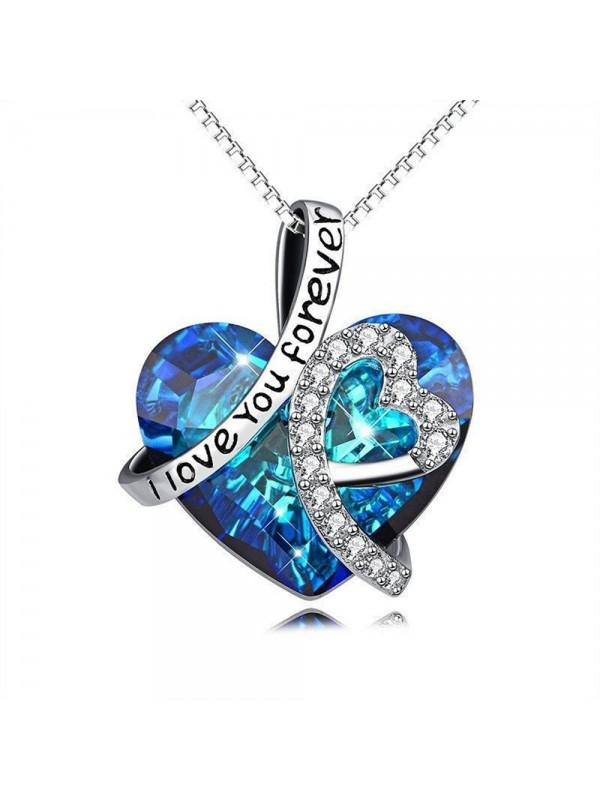 """""""I Love You Forever"""" Crystal Heart Pendant Necklace"""