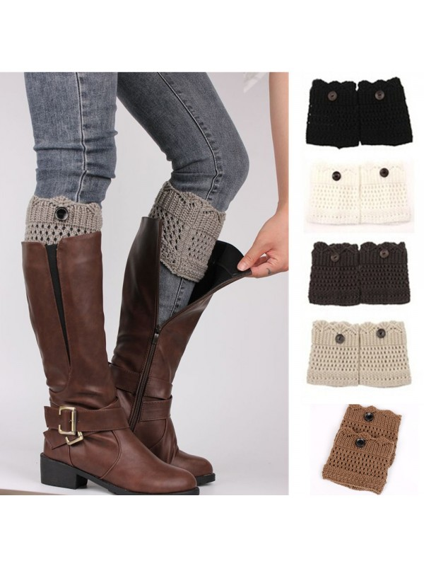 Women Button Hollow Knit Boots Cover