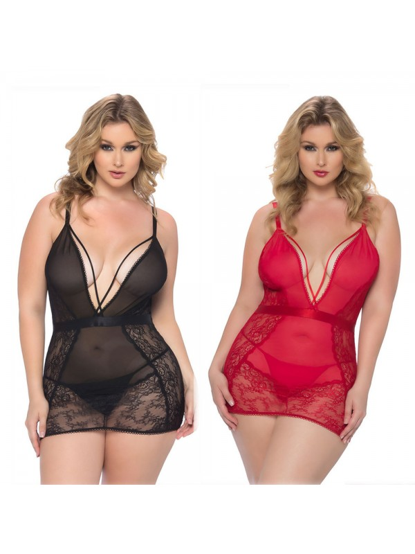 Sexy Lace Sling Mesh Lingerie Nightdress
