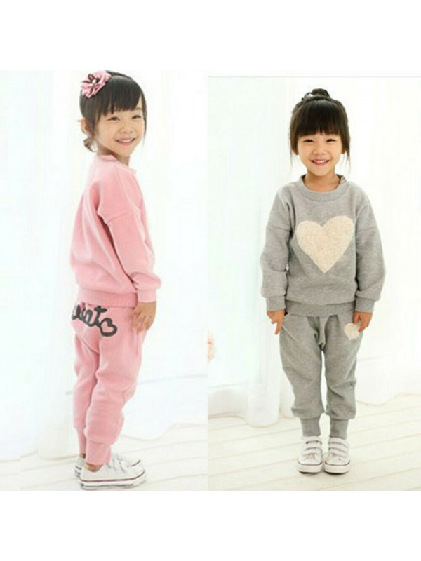 Kids Heart Pullover Tracksuit Casual Outfits