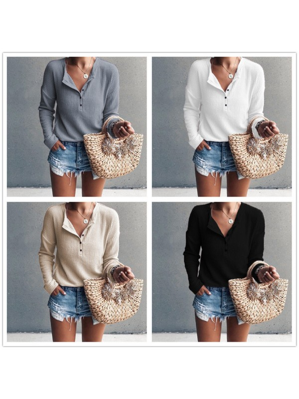 Women V Neck Button Casual Sweater