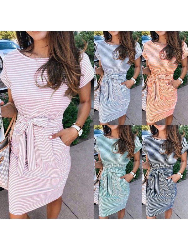 Womens Round-neck Striped Belted Dress
