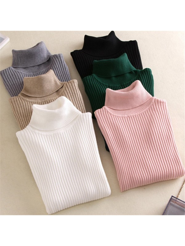 Women Knitted Turtleneck Sweater Casual Soft Slim Fashion Pullovers