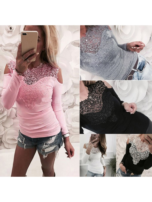 Womens Cold Shoulder Lace Long Sleeve Casual Tops