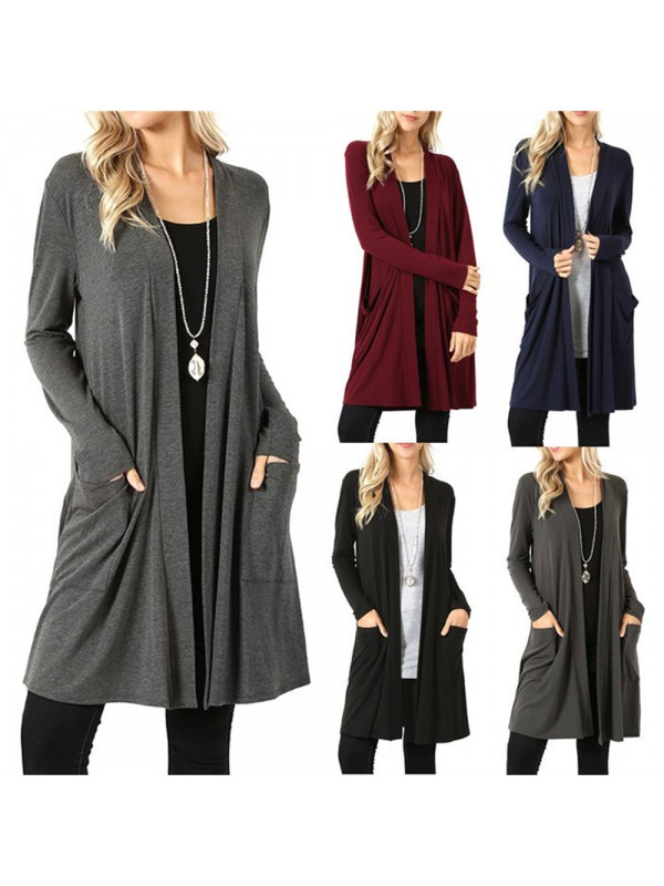 Women Casual Waterfall Cardigan with Pockets