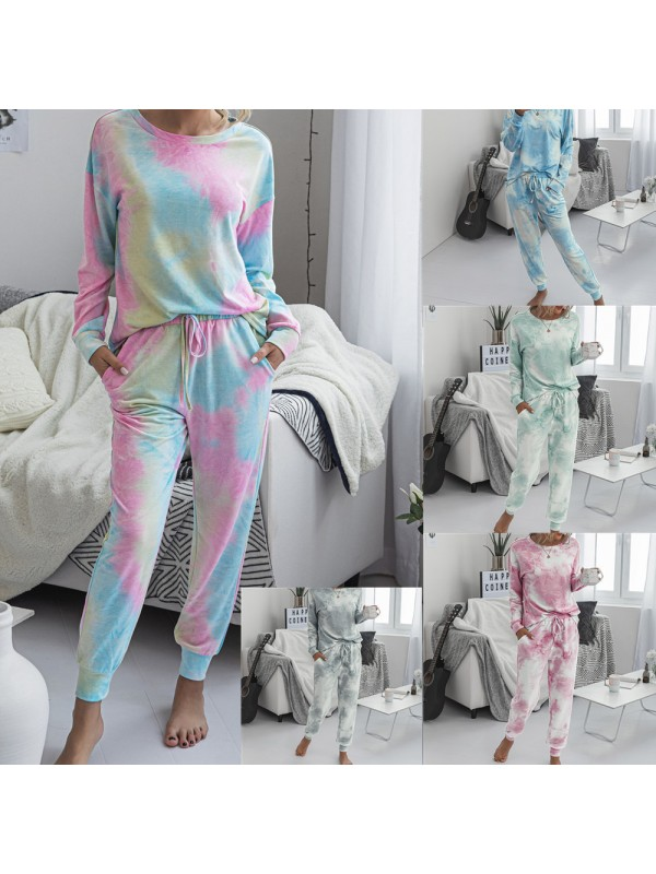 Women Tie-Dye Long Sleeve Tops and Drawstring Sweatpant Sets Home Clothes
