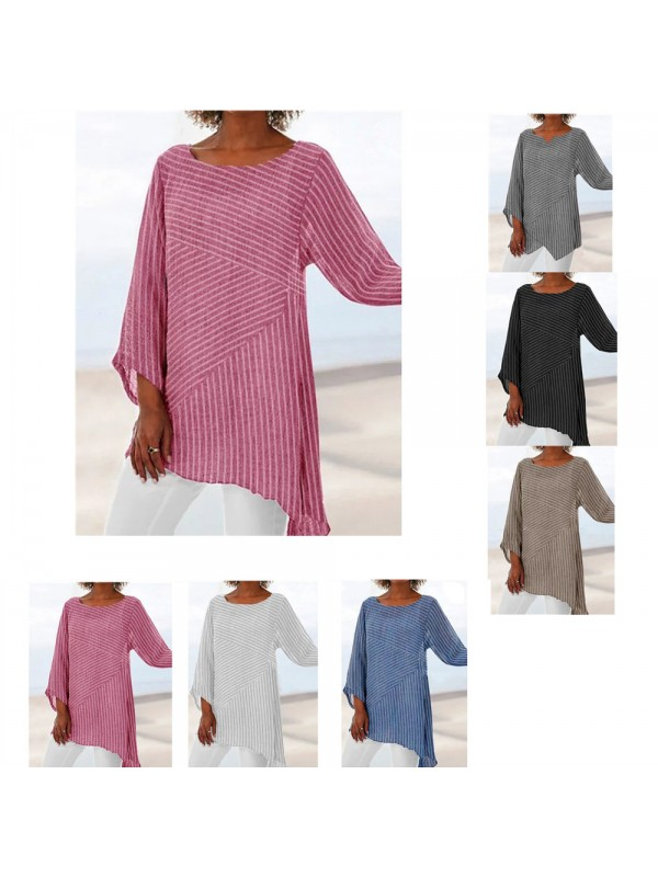 Womens Striped Loose Blouse