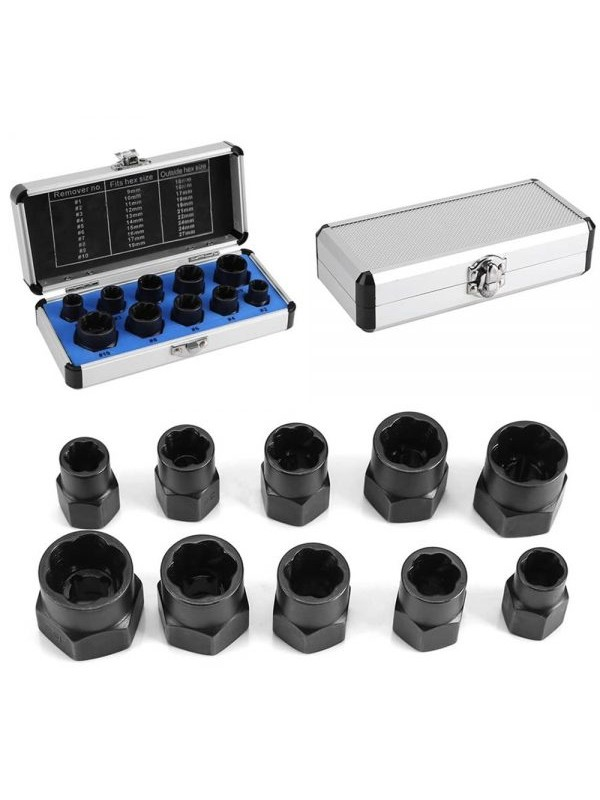 10PC Damaged Bolt Nut Screw Remover Extractor Set