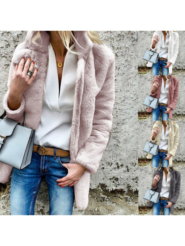 Ladies Long Sleeve Lapel Collar Solid Color Fluffy Coat
